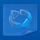 stock photo of reboot  - Drawing arrow blueprint - JPG