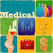 stock photo of lifeline  - illustration of collage with different medical concept - JPG