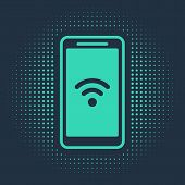 Green Smartphone With Free Wi-fi Wireless Connection Icon Isolated On Blue Background. Wireless Tech poster