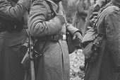 Close Up Of German Military Ammunition Of A German Soldier At World War Ii. Warm Autumn Clothes, Sol poster