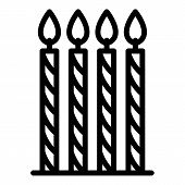 Four Thin Candles Icon. Outline Four Thin Candles Vector Icon For Web Design Isolated On White Backg poster