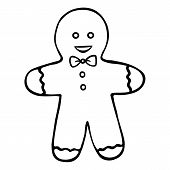 Gingerbread Man. Shortbread. Boy. Colorless Background. Coloring Book For Children. Christmas. New Y poster
