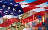 Usa And China Trade War Economy Recession Conflict Tax Business Finance Money Coins / United States  poster
