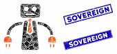 Mosaic Boss Robot Icon And Rectangular Sovereign Seal Stamps. Flat Vector Boss Robot Mosaic Icon Of  poster