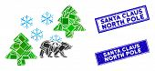 Mosaic Frost Siberia Icon And Rectangle Santa Claus North Pole Seal Stamps. Flat Vector Frost Siberi poster