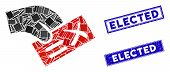 Mosaic Negative Vote Icon And Rectangle Elected Seal Stamps. Flat Vector Negative Vote Mosaic Icon O poster