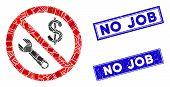 Mosaic No Job Pictogram And Rectangular No Job Seal Stamps. Flat Vector No Job Mosaic Pictogram Of R poster