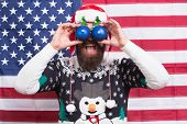 Excited Look. Happy To See. Bearded American Man. Celebrate Christmas And New Year American Way. Win poster