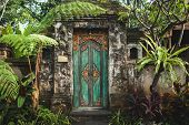 Traditional Balinese Handmade Carved Wooden Door. Bali Style Furniture With Ornament Details. Old An poster