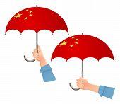 China Flag Umbrella. Social Security Concept. National Flag Of China  Illustration poster
