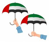 United Arab Emirates Flag Umbrella. Social Security Concept. National Flag Of United Arab Vector Ill poster