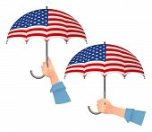 United States Of America Flag Umbrella. Social Security Concept. National Flag Of United States Of A poster