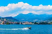 Lugano Lake And Lugano City Panoramic View In Canton Of Ticino In Switzerland poster
