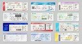 Airways Tickets And Boarding Passes Mockups. Vector Avia Company Traveling By Plane Documents With T poster
