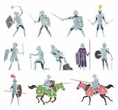 Knights. Medieval Battle Armor Characters Crusaders Historical Battle Mascots Vector Cartoon. Horsem poster