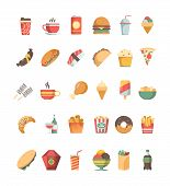 Fast Food Icon. Junk Food Trash Unhealthy Products Burger Hotdog Drinks Pizza Barbecue Fried Crispy  poster