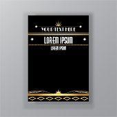 Art Deco Template Golden-black, A4 Page, Menu, Card, Invitation, poster