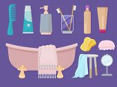 Hygiene Items. Body Care Gel Soap Sink Brush Towel Sponge Paste Bathroom Cartoon Collection. Illustr poster