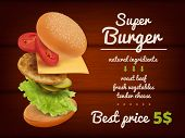 Fast Food Poster. Hamburger Flying Delicious Ingredients Meal Vegetables Tomato Restaurant Menu Prom poster