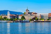 Geneva City Panoramic View. Geneva Or Geneve Is The Second Most Populous City In Switzerland, Locate poster