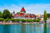 Chateau Douchy Or Castle Of Ouchy Is An Old Medieval Castle In Lausanne City In Switzerland poster