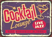 Cocktail Lounge Live Jazz Vintage Colorful Sign With Creative Typography Logo And Glass Of Martini C poster