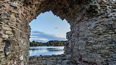 Autumn View Old Koknese Castle Ruins And River Daugava Located In Koknese Latvia. Medieval Castle Re poster