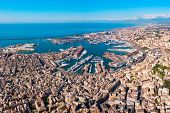 Genoa Port Aerial Panoramic View. Genoa Or Genova Is The Capital Of Liguria Region In Italy. poster