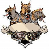 Cerberus Hell Hound And Angry Snake. Mythological Three Headed Dog The Guard Of Entrance To Hell. Ho poster