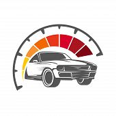 Speeding Car With Speedometer Showing High Speed. Vector Illustration. Eps 10 poster