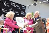 LOS ANGELES, CA - JUN 4: Betty White, Tom LaBonge at the unveiling of Betty White's wax figure at Ma