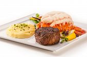 stock photo of lobster  - Petite Fillet and Lobster - JPG