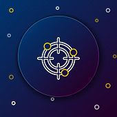 White And Yellow Line Target Sport For Shooting Competition Icon On Dark Blue Background. Clean Targ poster