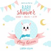 Sweet Dreams. Cute Sheep With Decorations And Place For Text. Girl Or Boy Baby Shower Or Nursery Dec poster