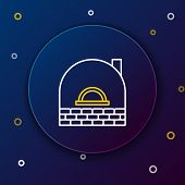 White And Yellow Line Brick Stove Icon Isolated On Dark Blue Background. Brick Fireplace, Masonry St poster