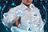 Business, Technology, Internet And Network Concept. Businessman Presses A Button Best Practice On Th poster