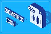 Isometric Wav File Document. Download Wav Button Icon Isolated On Blue Background. Wav Waveform Audi poster