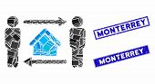 Mosaic Men Home Exchange Icon And Rectangle Monterrey Seal Stamps. Flat Vector Men Home Exchange Mos poster