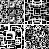 Seamless black-and-white retro patterns