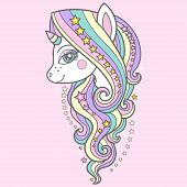 Cute Unicorn With A Long Mane And Stars On A Pink Background. Vector poster