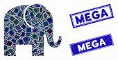 Mosaic Elephant Icon And Rectangular Mega Watermarks. Flat Vector Elephant Mosaic Icon Of Scattered  poster