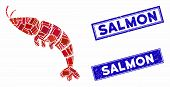 Mosaic Shrimp Icon And Rectangular Salmon Stamps. Flat Vector Shrimp Mosaic Icon Of Random Rotated R poster
