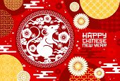 Rat Or Mouse Papercut Greeting Card Of Chinese New Year Vector Design. Animal Zodiac Or Lunar Horosc poster