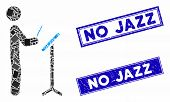Mosaic Concert Conductor Pictogram And Rectangle No Jazz Stamps. Flat Vector Concert Conductor Mosai poster