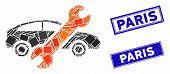 Mosaic Repair Car Pictogram And Rectangular Paris Seal Stamps. Flat Vector Repair Car Mosaic Pictogr poster