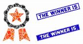 Mosaic Certification Seal Pictogram And Rectangle The Winner Is Rubber Prints. Flat Vector Certifica poster