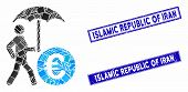 Mosaic Euro Financial Umbrella Pictogram And Rectangle Islamic Republic Of Iran Seals. Flat Vector E poster