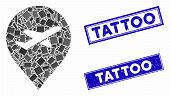 Mosaic Airport Marker Pictogram And Rectangular Tattoo Stamps. Flat Vector Airport Marker Mosaic Pic poster