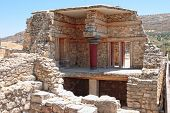 The partial reconstruction of part of the Minoan era palace of Knossos near Heraklion in Crete, Gree