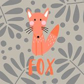 Funny Fox And Word - Fox, Isolated On Floral Background. Scandinavian Cartoon Illustration For Kids. poster